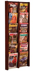 Stance 12-Pocket Wall Magazine Rack - Solid Oak by Wooden Mallet